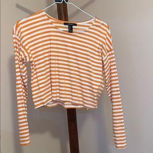Orange/White Striped Crop Top